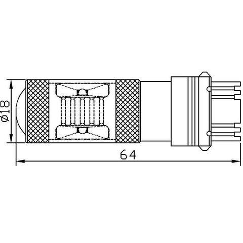 LED лампа гальмування UP-7G-3157WB-30W (біла, 12-24 В) Прев'ю 2