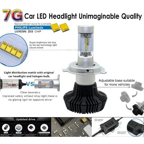 Набір світлодіодного головного світла UP-7HL-9005W-4000Lm (H7, 4000 лм, холодний білий) Прев'ю 3